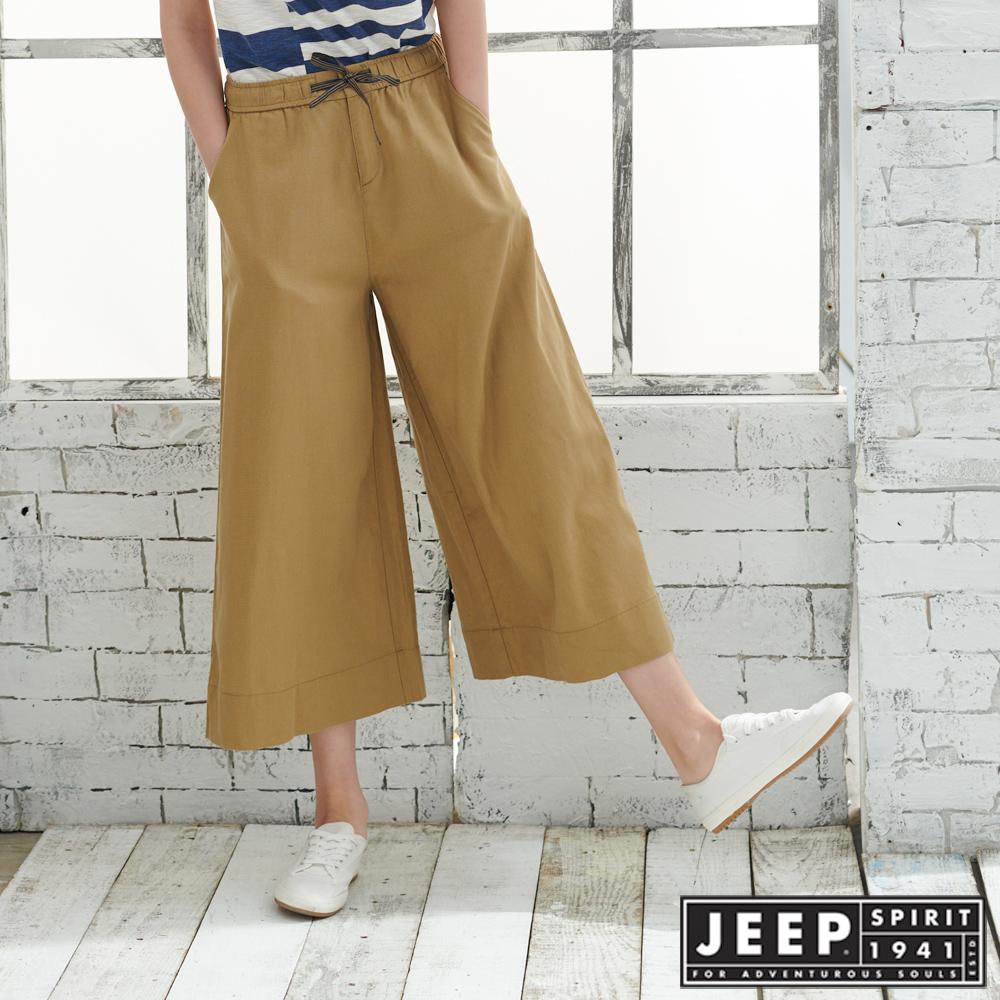 JEEP女裝棉麻休閒八分寬褲