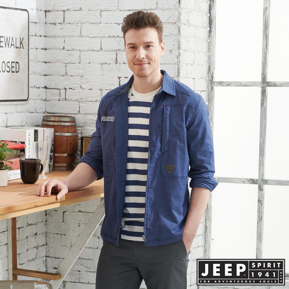 JEEP舒適輕薄襯衫式外套-深藍