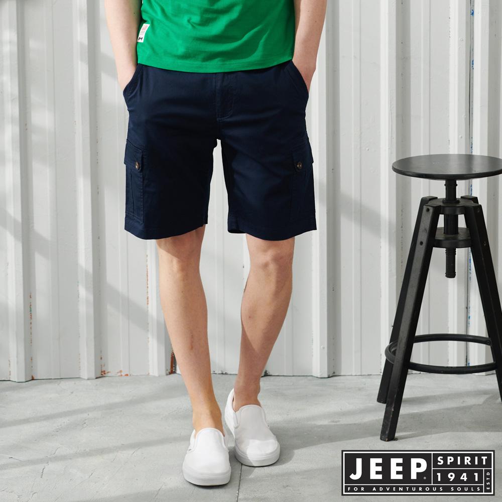 JEEP彈性雙口袋休閒短褲