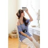 【CERES席瑞絲】針織長版真兩件式上衣/淺藍Q0963-BN