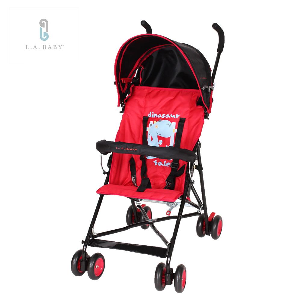 L.A. Baby 美國加州貝比 亮彩輕便嬰兒手推車(魔力紅)