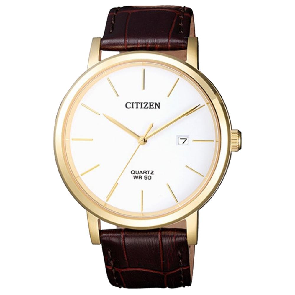 CITIZEN 星辰 石英男錶 皮革錶帶 白色錶面 防水50米 日期顯示 BI5072-01A