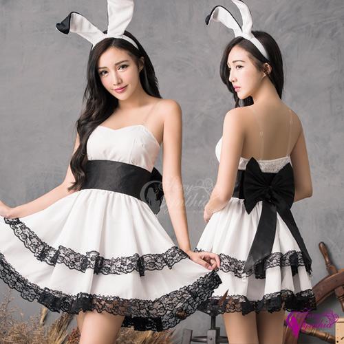 【Sexy Cynthia】角色扮演 甜美黑白配兔女郎角色扮演服四件組