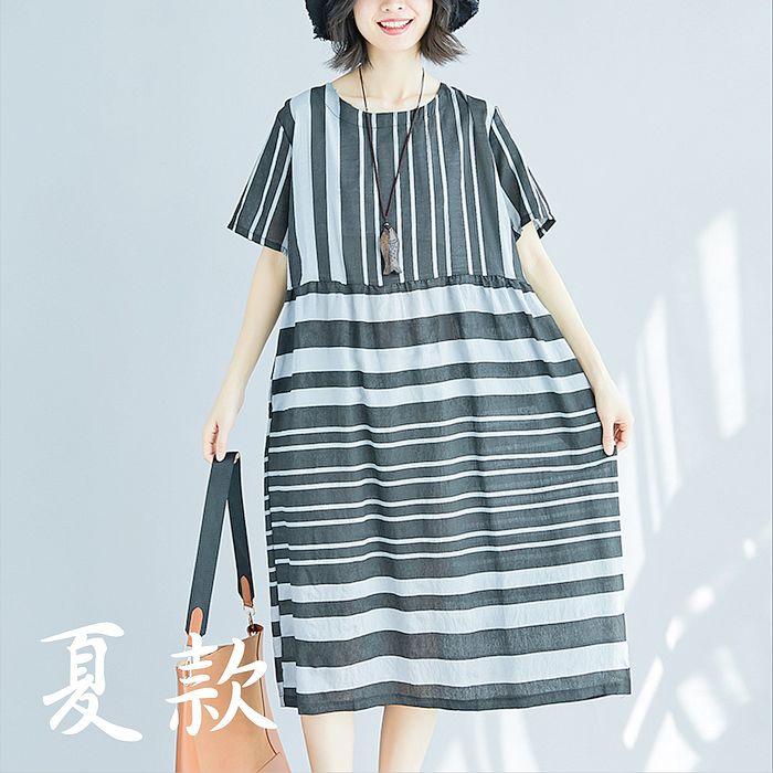 【Maya 名媛】L~XL短袖圓領都市名媛素雅洋裝20180508-13