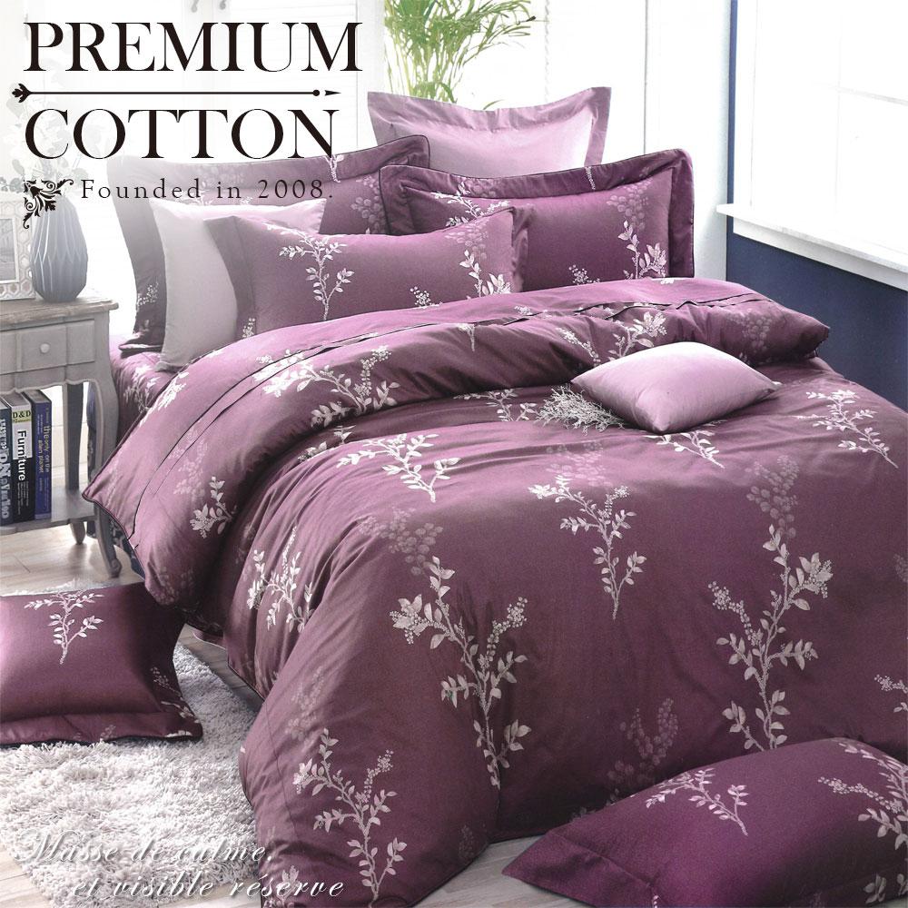 《DUYAN 竹漾》100%精梳棉雙人加大六件式床罩組-馥葉雅致 台灣製