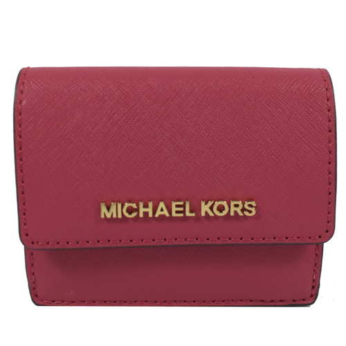 MICHAEL KORS 金字LOGO防刮皮扣式鑰匙零錢短夾.胭脂粉