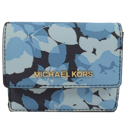 MICHAEL KORS 金字LOGO花朵防刮皮扣式鑰匙零錢短夾.藍