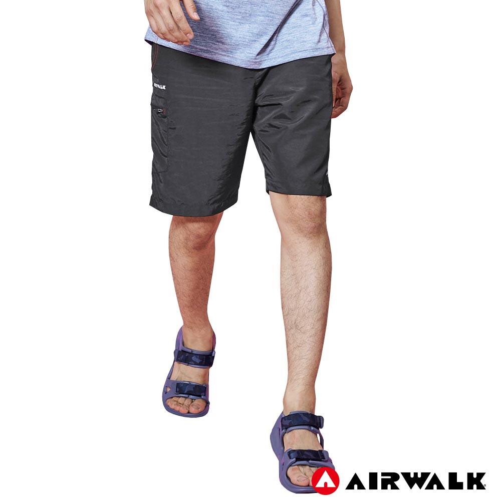 【AIRWALK】男款風衣剪接短褲-中灰