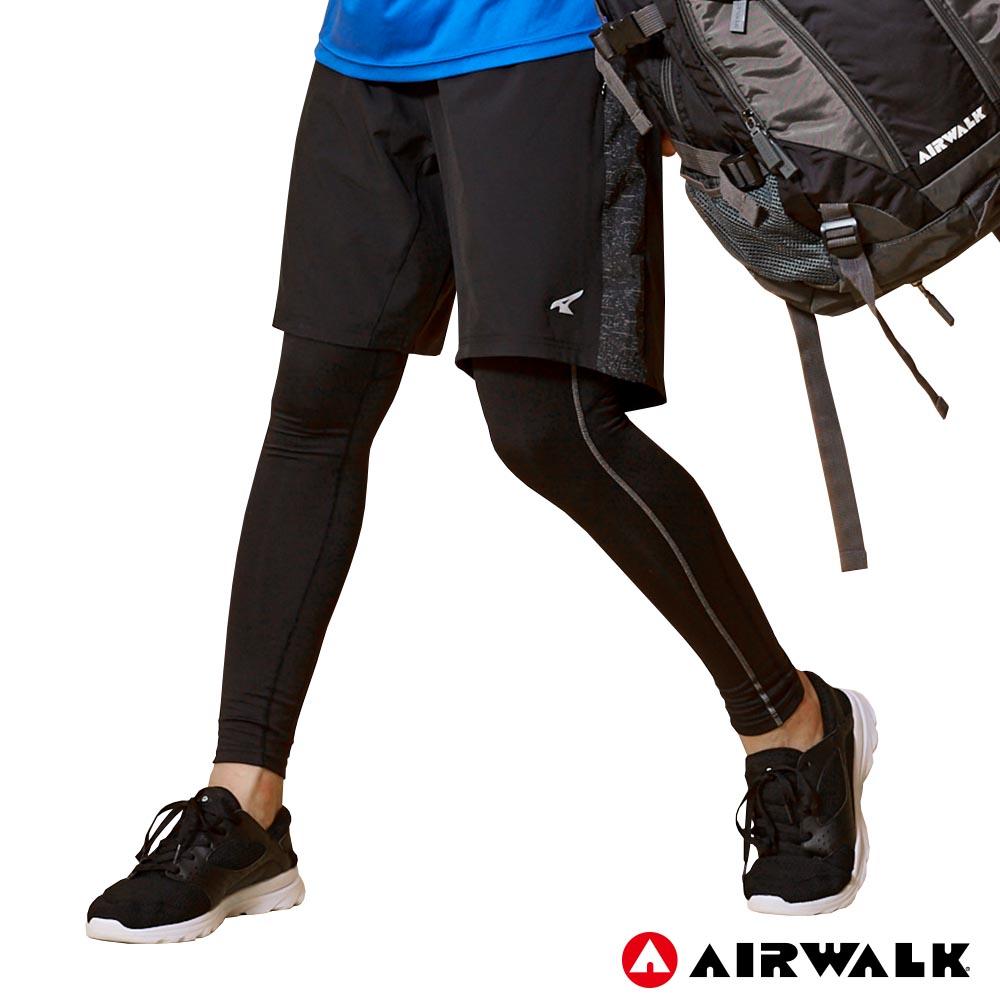 【AIRWALK】男款拼接運動褲-黑色