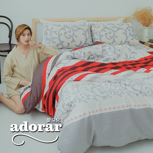 Adorar《詠情織愛》雙人加大四件式雲絲絨兩用被床包組
