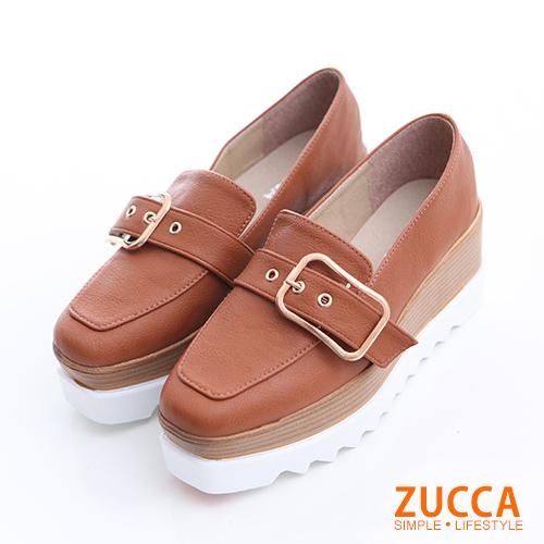 ZUCCA【z6325lc】金屬扣尖頭厚底紳士鞋-駝色
