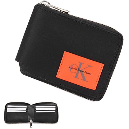 Calvin Klein CK 撞色尼龍拉鍊短夾禮盒-黑色