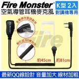 Fire Monster 無線電對講機專用 空氣導管耳機麥克風 線材加粗 音量加大 配戴舒適(2入)
