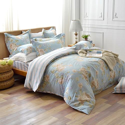 義大利La Belle 特大純棉防蹣抗菌兩用被床包組