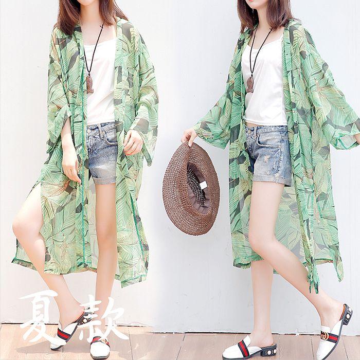 Maya 名媛 雪紡長版衫-熱帶雨林款