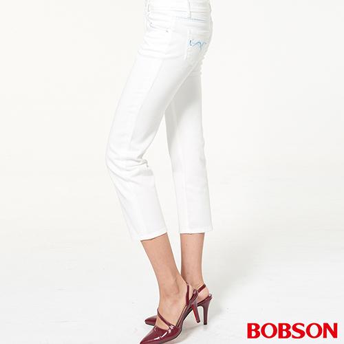 BOBSON 中腰刺繡白色七分褲