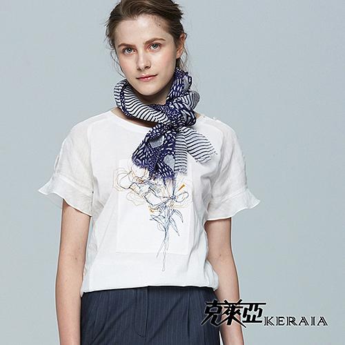 【克萊亞KERAIA】荷葉袖口麻料印花上衣