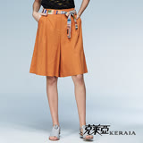 【克萊亞KERAIA】都會俐落麻料寬鬆短褲(附綁帶)