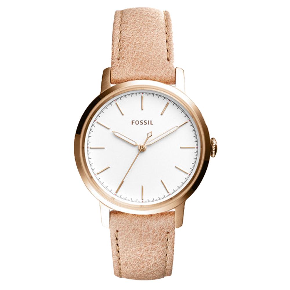 FOSSIL 氣質石英女錶 皮革錶帶 白色錶面 ES4185