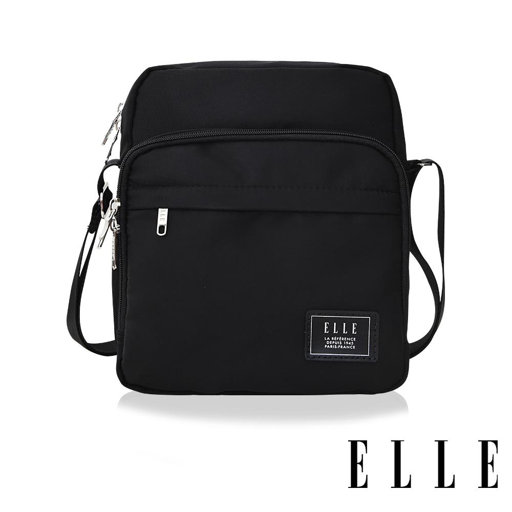 ELLE 爵士輕旅系列 輕量多隔層休閒直式斜背/側背包-黑 EL83503