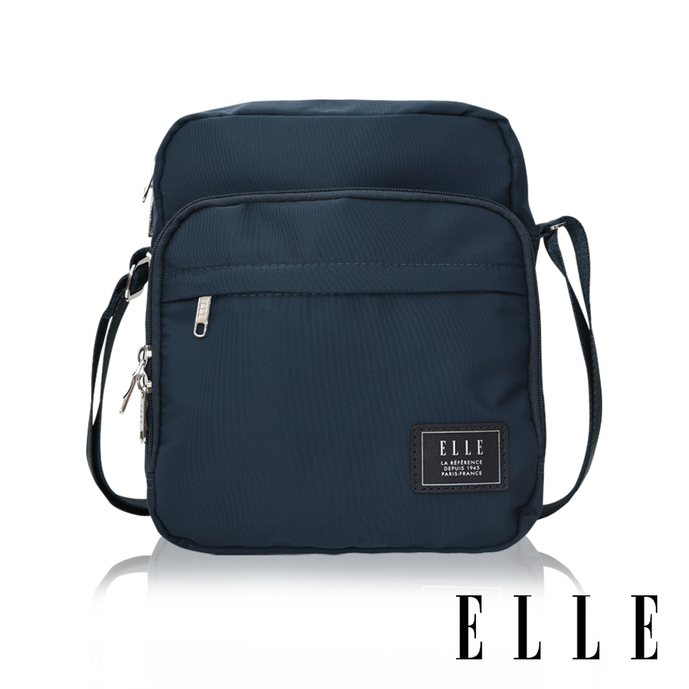 ELLE 爵士輕旅系列 輕量多隔層休閒直式斜背/側背包-深藍 EL83503