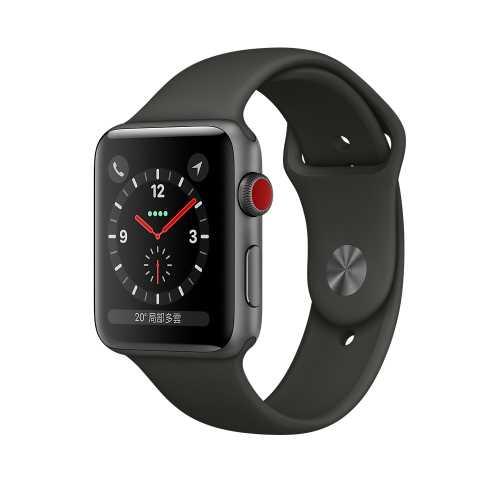 Apple Watch Series 3 (GPS+行動網路) ,42公釐太空灰色鋁金屬錶殼搭配灰色運動型錶帶 _ 【贈專用螢幕保貼+保護套】