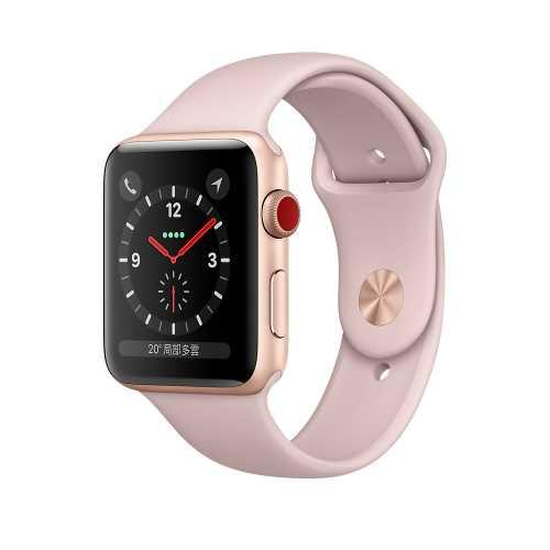 Apple Watch Series 3 (GPS+行動網路) ,42 公釐金色鋁金屬錶殼搭配粉沙色運動型錶帶  _ 【贈專用螢幕保貼+保護套】