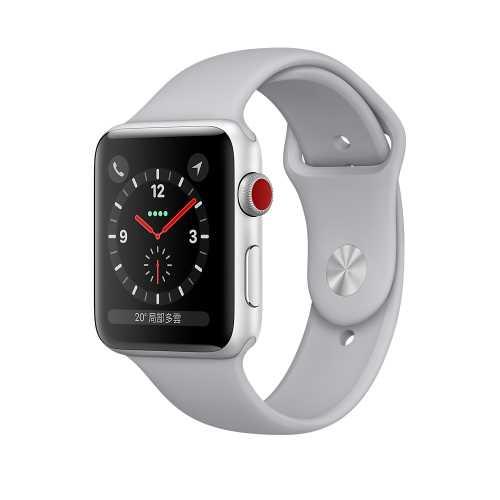 Apple Watch Series 3 (GPS+行動網路) ,42 公釐銀色鋁金屬錶殼搭配薄霧灰色運動型錶帶 _ 【贈專用螢幕保貼+保護套】