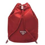 PRADA VELA系列經典三角LOGO尼龍萬用束口袋/化妝包(紅色)