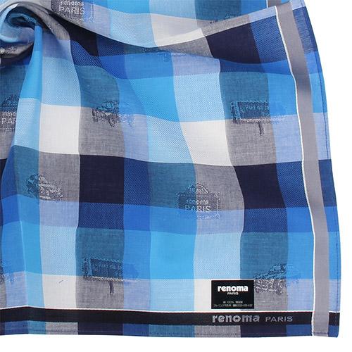 renoma paris 時尚圖紋裝飾經典大格紋紳士帕巾-藍色