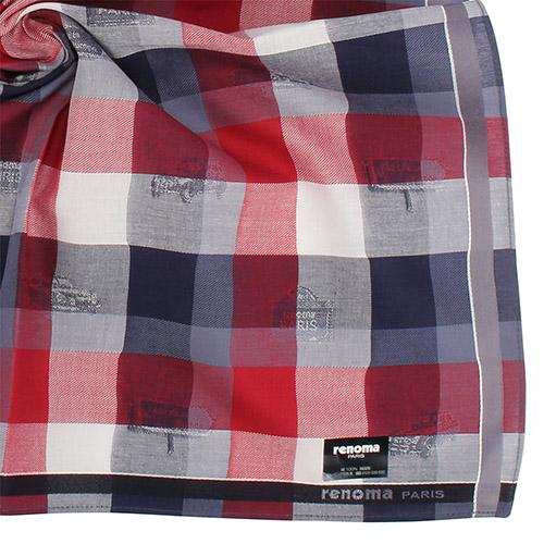 renoma paris 時尚圖紋裝飾經典大格紋紳士帕巾-紅色