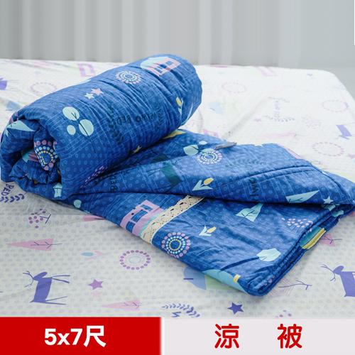 【米夢家居】原創夢想家園-台灣製造-100%精梳純棉雙面涼被5*7尺(深夢藍)