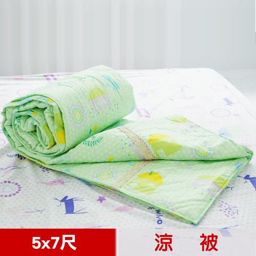 【米夢家居】原創夢想家園-台灣製造-100%精梳純棉雙面涼被5*7尺(青春綠)