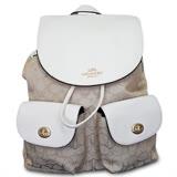 COACH 氣質休閒logo壓紋織布後背包-完美白