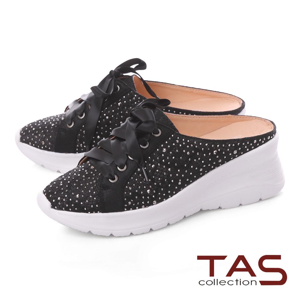 TAS水鑽蕾絲蝴蝶結厚底涼拖鞋-百搭黑