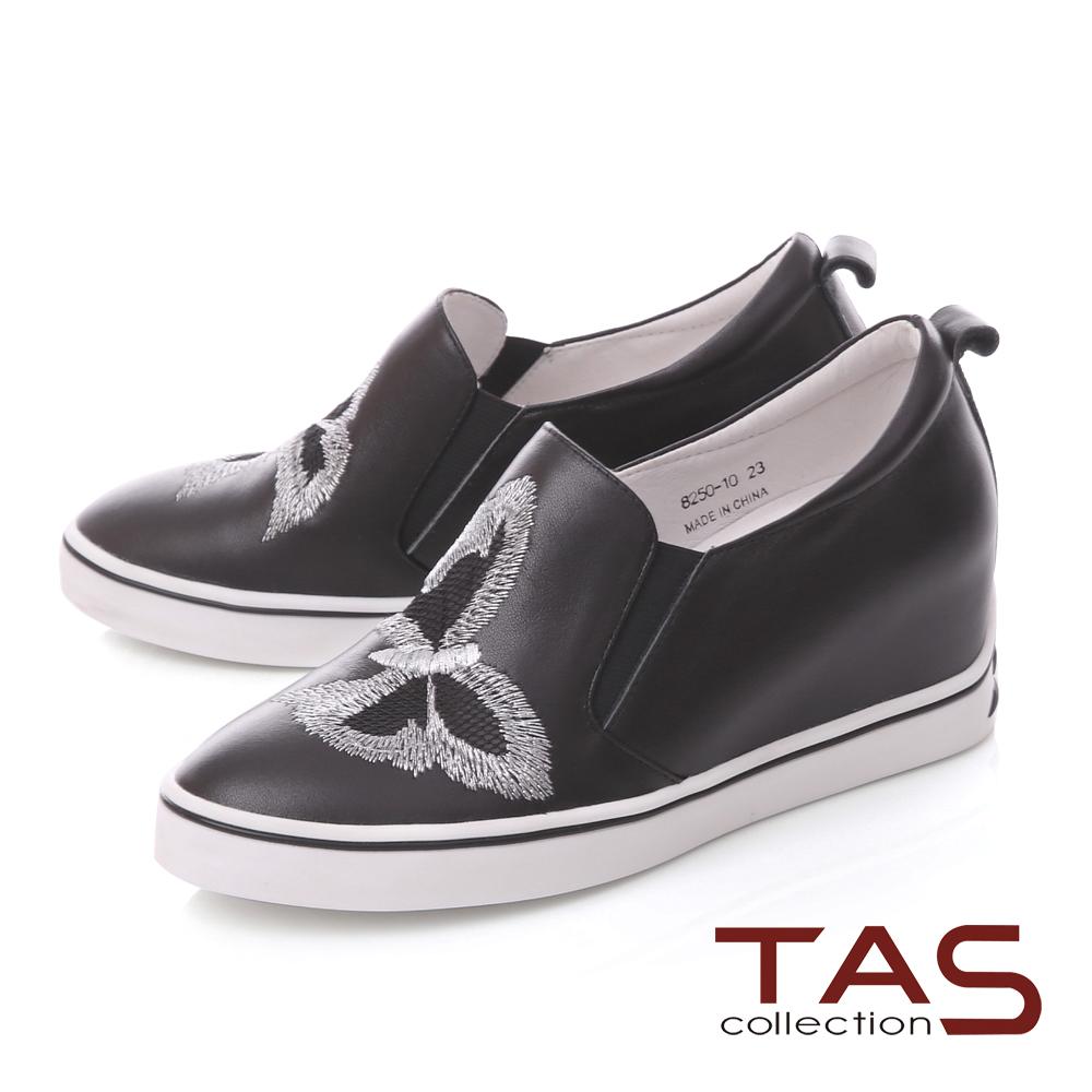 TAS蝴蝶刺繡內增高運動休閒鞋-經典黑