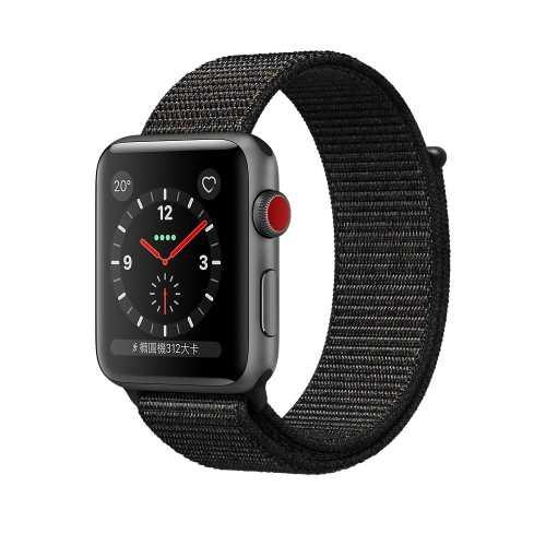 Apple Watch Series 3 (GPS + 行動網路),42 公釐太空灰色鋁金屬錶殼搭配黑色運動型錶環 _ 台灣公司貨