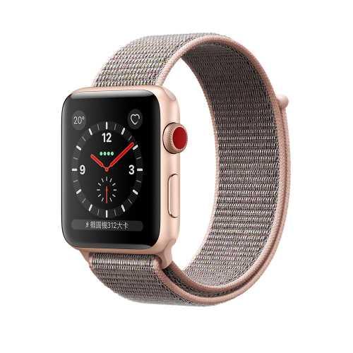 Apple Watch Series 3 (GPS + 行動網路),42 公釐金色鋁金屬錶殼搭配粉沙色運動型錶環  _ 台灣公司貨