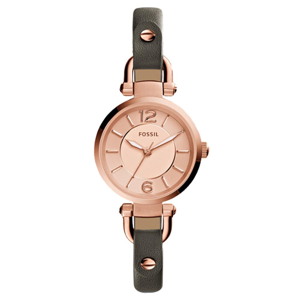 FOSSIL纖細優雅石英女錶 皮革錶帶 玫瑰金錶面 防水50米 ES3862