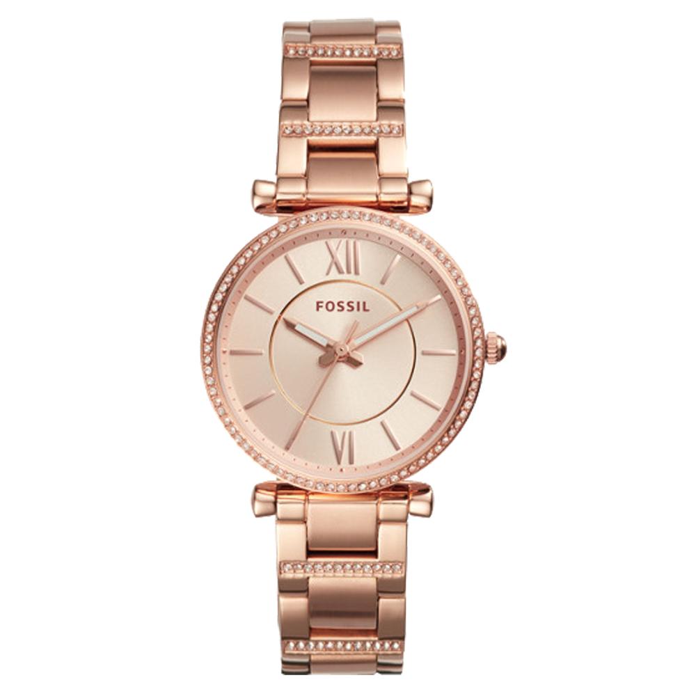 FOSSIL 閃耀石英女錶 不鏽鋼錶帶 玫瑰金錶面 防水 ES4301