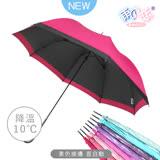 【日本雨之戀】散熱降溫10度-素色直自動傘-深桃紅-晴雨傘/抗UV/不透光/撞色
