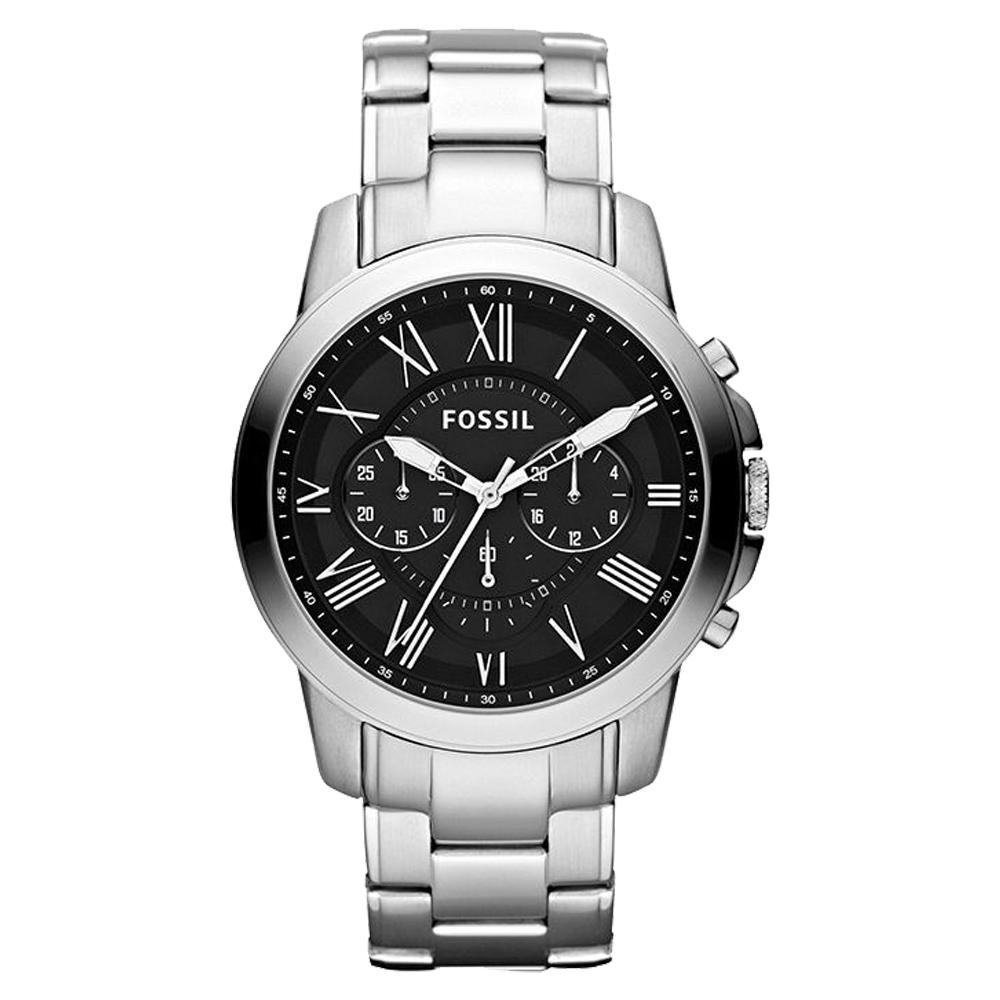 FOSSIL 時尚三眼男錶 不鏽鋼錶帶 黑色錶面 防水50米 計時功能 FS4736