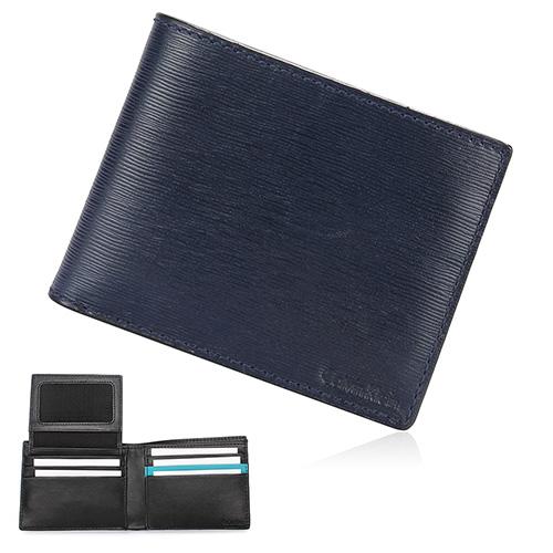 Calvin Klein CK 壓印LOGO水波紋防刮皮革內裡撞色短夾禮盒-深藍色