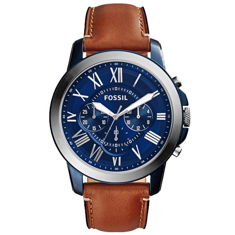 FOSSIL 時尚三眼男錶 皮革錶帶 不鏽鋼錶殼 深灰色錶面 防水50米 計時功能 FS5151