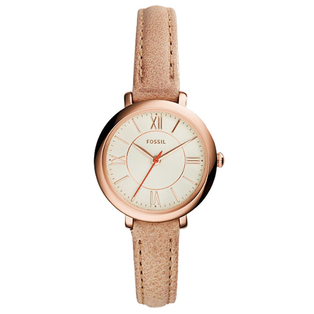 FOSSIL 氣質石英女錶 皮革錶帶 米白色波紋錶面 防水 ES3802