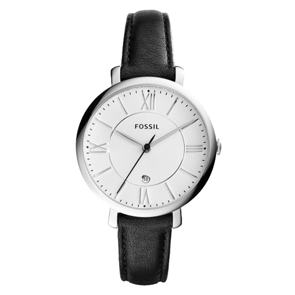 FOSSIL 簡約石英女錶 皮革錶帶 白色波紋錶面 防水 日期顯示 ES3972