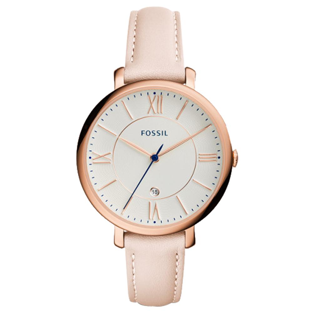 FOSSIL 氣質石英女錶 皮革錶帶 白色波紋錶面 防水 日期顯示 ES3988