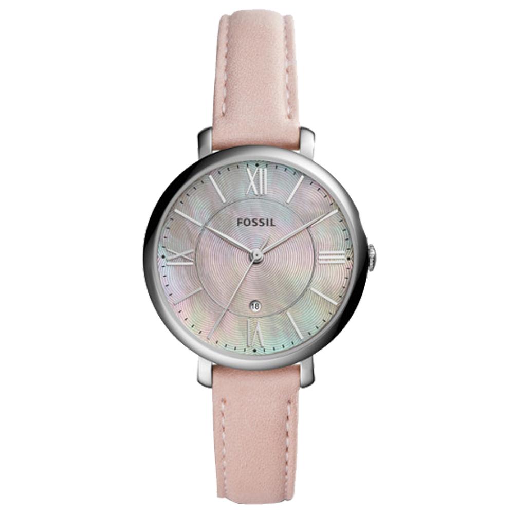 FOSSIL 石英女錶 皮革錶帶 珍珠貝波紋錶面 防水 日期顯示 ES4151