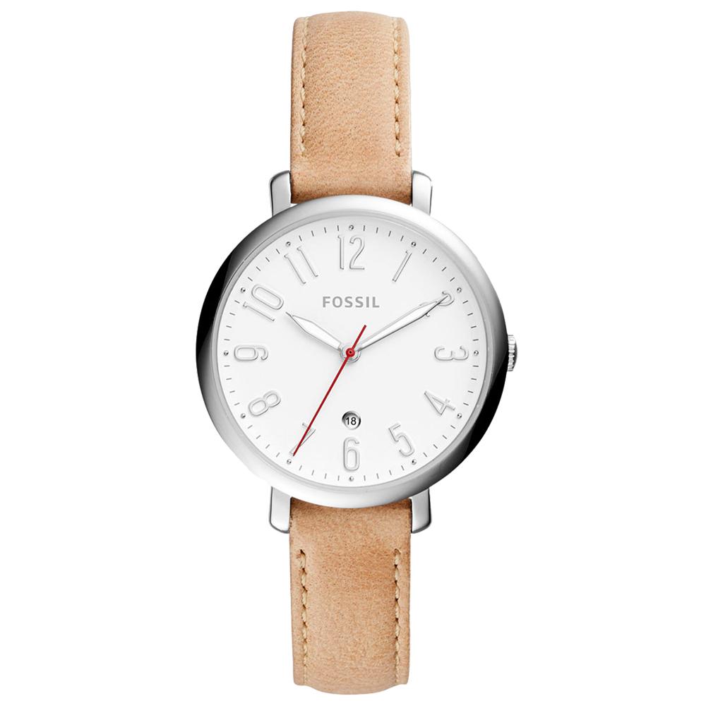 FOSSIL  簡約石英女錶 皮革錶帶 白色錶面 防水 日期顯示 ES4206