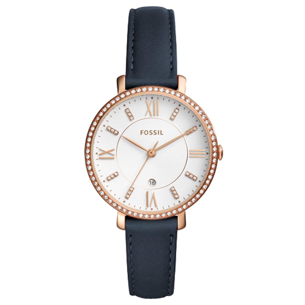 FOSSIL 閃耀石英女錶 皮革錶帶 波紋白色錶面 防水 日期顯示 ES4291